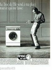 PUBLICITE ADVERTISING 126  1991  Magasin depot-vente Troc de l'Ile  machine lave
