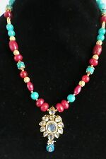 Ruby & Blue jade with kundan pendant