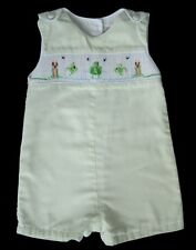 Boys PETIT AMI Green Smocked FROG POND Shortall 6m Romper Jon Onepiece Boutique