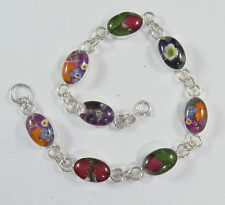 "925 sterling silver bracelet with oval pieces and real flowers 7 1/4"" long"