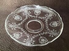 "Heisey Glass 13"" Gardenia Bowl in Etched Orchid 1940-1957 Newark Ohio Crystal"