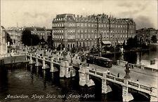Amsterdam Holland ~1930/40 Hooge Sluis met Amstel Hotel Brücke Tram Personen