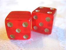 IRREGULAR DEFECTIVE FACTORY MISS BLANK MISPRINT CHERRY RED JELLO BAKELITE DICE