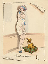 FRENCH BULLDOG CHARMING DOG GREETINGS NOTE CARD SCANTILY  DRESSED LADY & MOUSE