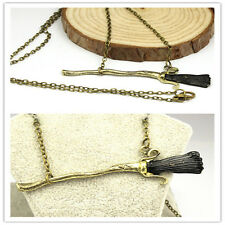 Harry Potter Deathly Hallows Firebolt Broomstick Broom Pendant Charm Necklace MT