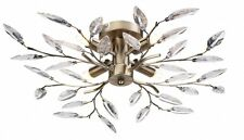 MODERN FLUSH FITTING CEILING LIGHT FITTING ANTIQUE BRASS/GOLD ACRYLIC LEAVES