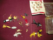 LOT VINTAGE HEDDON WILDER DILG FLY ROD FISHING LURES W/CASE STREAMERS POPPERS