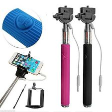Pink Monopod Selfie Stick Telescopic&Wire Built-in Bluetooth Remote Phone Holder