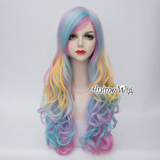 70CM Party Lolita Multi-Color Long Curly Women Hair Cosplay Wig Heat Resistant