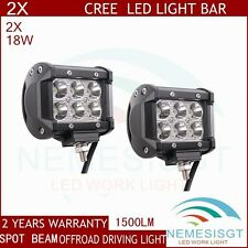 2pcs 18W CREE LED Work Light Bar Spot Beam Off Road Driving Fog Lamp ATV Boat