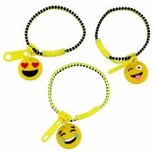 Ladies or Girls Yellow and Black Emoji Charm Zipper Bracelets - Assorted Designs
