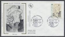FRANCE FDC - 2497 1 BLAISE CENDRARS MODIGLIANI - 6 Novembre 1987 - LUXE sur soie