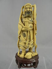 Hand Carved Asian Male Staff Figurine Statue Faux Bone Intricate Detail