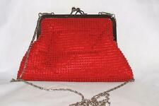 Red Beaded Clutch Evening Bag Red Bead Detail Clasp Opening Shoulder Strap  BNWT