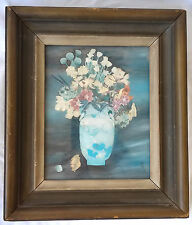 Circa 1900 Chinese Reverse Painting on Glass w/ Decoupage Floral Still Life