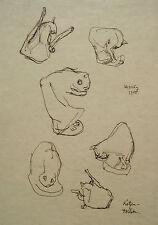 """Wolfgang von Websky 1895-1992 Wangen / Zeichnung """"Katzen-Toilette"""" 1955 signiert"""