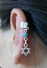 A Faux Turquoise Bead Jewish star of David Charm Ear Cuff Clip Stud Wrap Earring