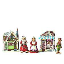 JIM SHORE~SANTA'S CHRISTMAS VILLAGE~5 PIECE SET~ WORKSHOP~MRS. CLAUS~ELF~4044516