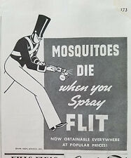 1938 FLIT Insect Spray Sprayer Insecticide Rid Roaches Bedbugs Ants Original Ad