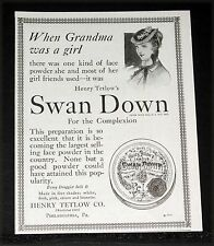 1917 OLD MAGAZINE PRINT AD, H. TETLOW SWAN DOWN FACE POWDER, FOR THE COMPLEXION!