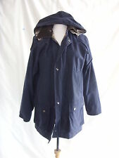 Ladies Coat - Cotton Traders, size M, wax jacket, hood, navy, broken zip 2542