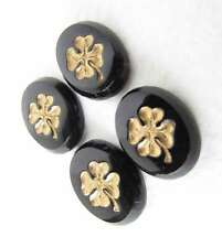 Vintage Flower Intaglio Cameo Cabochon Gold Black Clover Lucky 14x11mm