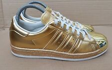 ADIDAS SUPERSTAR 80'S METALLIC TRAINERS ALL GOLD WITH METAL TOE SIZE 5 UK RARE