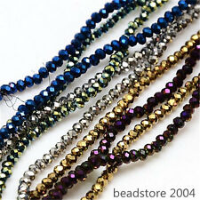 10strands Full Plated Electroplate Glass Faceted Abacus Beads Mixed 2.5x2mm