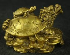 China's rare hand carved statues of fortune dragon turtle brass