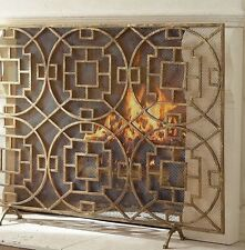 French Chinese Chippendale Horchow Replica Gold  Pyra Geometric Fireplace Screen