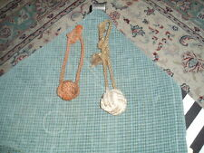 Vintage MONKEY FIST KNOT Nautical Folk Art Wall Hanging Decor Set Of 2