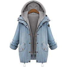 Womens Denim Jacket Oversized Hoodie Hooded Gilet Outwear Winter 2pcs Jeans Coat