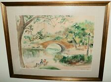 NYC Central Park with Lake & Bridge Watercolor Painting-1957- Rodolfo Marma