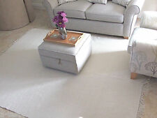Shabby Chic Offwhite Ecofriendly Raw Cotton Rugs in Ribbed Pattern 120x180 cm