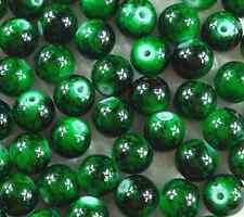 50Pcs 8mm Dark Green Lampwork Czech Glass Pearl Round Spacer Loose Beads