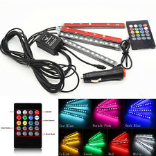4x12LED Car 7 Colors Music Control Footwell Atmosphere Decor Light Strips+Remote