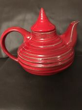 Vintage Freeman Mcfarlin Pottery California Teapot Rare Red Ribbed