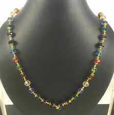 Designer Gold Plated Multi Color Stylish Crystal Necklace / Chain Latest Fashion