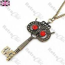 BIG ORNATE OWL KEY PENDANT vintage brass LONG NECKLACE red rhinestone eyes