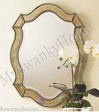 """NEIMAN MARCUS 28"""" Victorian Venetian Etched Vanity Wall Mirror Antique Romantic"""