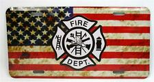 Support Fire Dept American Flag Car Truck Auto Tag Novelty Metal License Plate