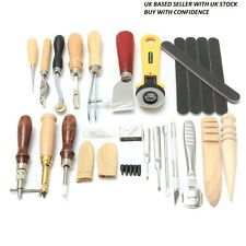 24pcs Leather Craft Punch Tools Kit Hand Sewing Stitching Carving Work Saddle