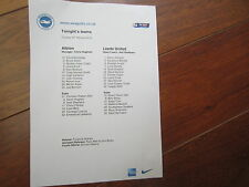 2014-15 CHAMPIONSHIP BRIGHTON & HOVE A v  LEEDS UNITED  v OFFICIAL    TEAM SHEET