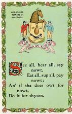 Yorkshire Toast & Mottoes (3) Comic Humour Literary unused old pc Valentines