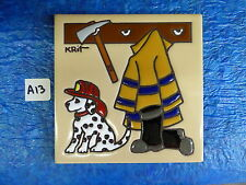 "Ceramic Art Tile 6""x6"" Fireman with Axe Dalmation w/hat dog kids room TRIVET A13"