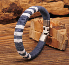 G529 Gray Cool Surfer Young Cotton Wraps Wristband Mens Leather Bracelet Cuff