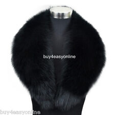 100cm Men Black Real Genuine Big Fox Fur Collar Scarf Wrap Shawl Neck Warm Cape