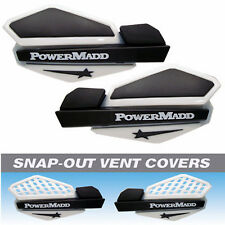 Powermadd White/Black Star Snowmobile Handguards & Mount Kit Polaris/Skidoo etc.