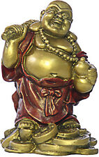 "Standing Happy Buddha Hotai Laughing on Coins Miniature 3.5""H O-048GR"