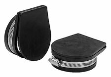"BOAT MARINE EXHAUST GUARD COVER FLAPPER BLACK RUBBER 3"" OD PIPE PAIR W/SS CLAMPS"